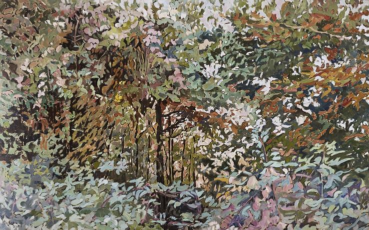 Βασίλης Θεοχαράκης,Δάσος Χ,2010,Λάδι σε μουσαμά,125x200εκ m