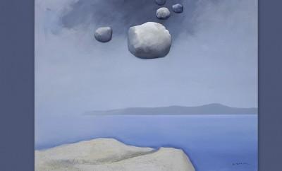 Κώστας Τσόκλης,Θαλασσογραφία,2020,ακρυλικό σε καμβά, πέτρες, καθρέφτης