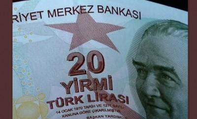 Turkish lira banknote, image via Wikimedia Commons